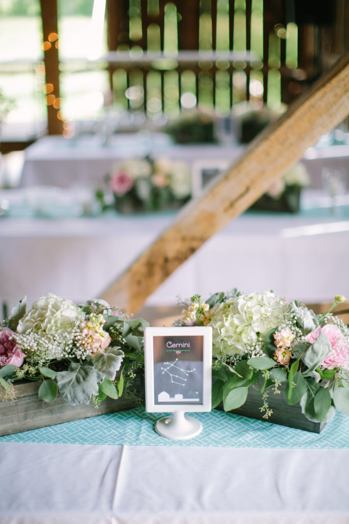 Rustic Wedding Table Number Astronomy Theme at Enchanted Barn