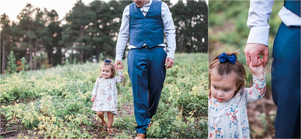 Photo of toddler girl and dad walking in field