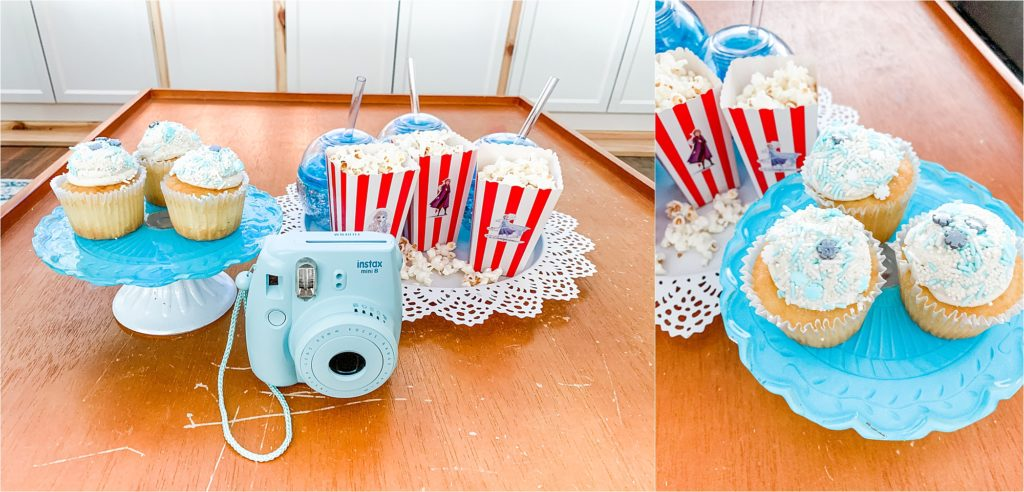 Frozen 2 Party with popcorn Instax camera and cupcakes