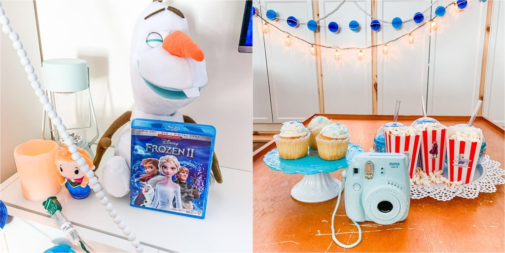 Frozen 2 Party with Olaf toy movie and cupcakes
