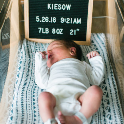 Newborn Hospital Photos with Letterboard