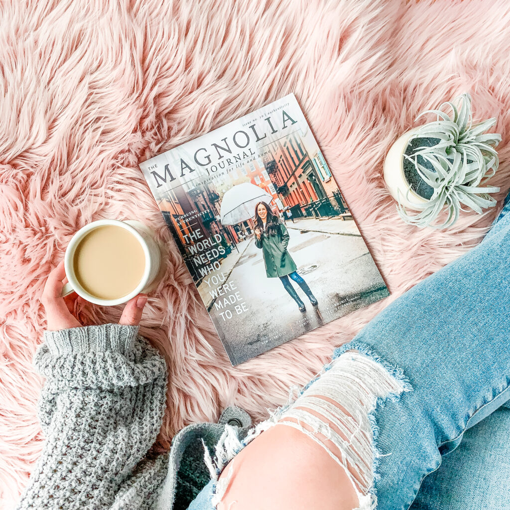 How to Relax with kids photo of coffee and magazine with plan with mom relaxing in ripped jeans